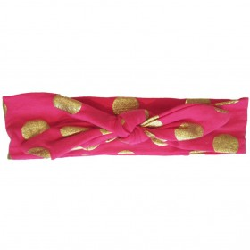 Baby Wisp Bunny Ears Top Knot Headband with Gold Dots