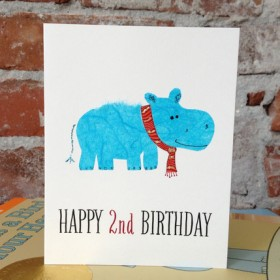 """Flaunt Cards """"Happy 2nd Birthday"""" Blue Hippo"""