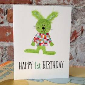 "Flaunt Cards ""Happy 1st Birthday"" Green Bunny"