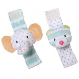 Manhattan Toy Playtime Plush Elephant & Lion Wrist Rattle Set