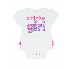 Ruffle Butts Birthday Girl Short Sleeve Bodysuit