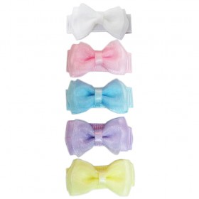Baby Wisp Small Snap Fancy Bows - Perfect Pastels