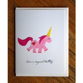 """Flaunt Cards """"Have A Magical Birthday"""" Pink Unicorn"""