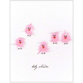 "Flaunt Cards ""Baby Shower"" Pink Birds"
