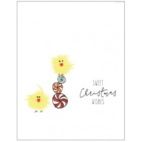 "Flaunt Cards ""Sweet Christmas Wishes"" Yellow Birds"