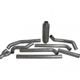 "Bully Dog 82223 - 4"" Aluminized Steel Turbo Back Dual Exhaust Kit, Tip Included"