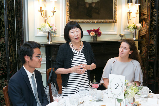 Ambassador Julia Chang Bloch welcomes the Fellows and their mentors to the event