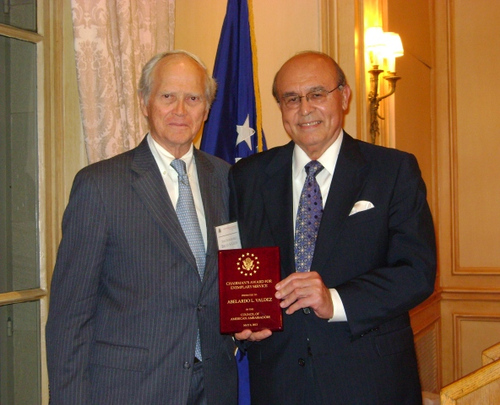 May 6, 2013 Awards Ceremony and Reception. Ambassador Abelardo L. Valdez Receives the Chairman's Award from Ambassador Bruce S. Gelb