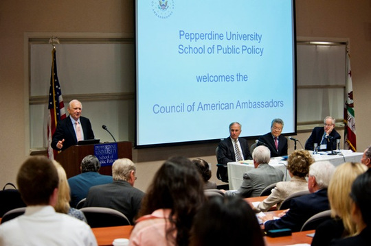 Dr. James R. Wilburn, Dean of Pepperdine University's School of Public Policy , and the first panel