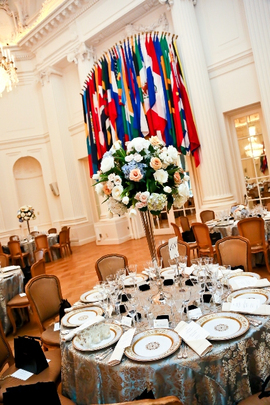 30th Anniversary Gala: Table Setting in the Hall of the Americas. Photo credit Tony Powell