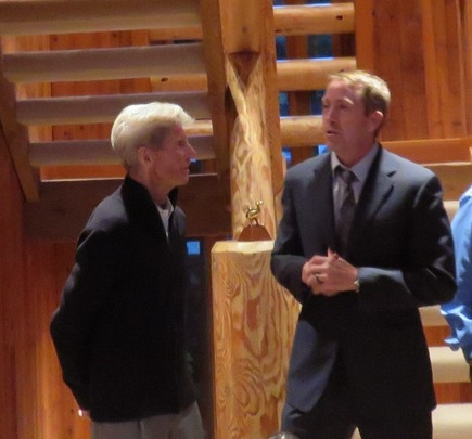Olympians Stein Eriksen and Jimmy Shea addressed the CAA delegation and guests at Ambassador and Mrs. John Price's residence in Deer Valley, UT.