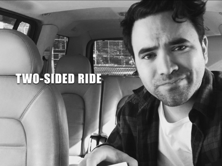 Told through the single point perspective of a dash cam inside a car, TWO-SIDED RIDE provides an intimate outlook into the life of Alex—a gay driver for a ride-booking service—as he encounters passengers and misfortunes in his search for a romantic connection in the city. Directed by Jason Karman
