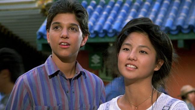 """Ralph Macchio and Tamlyn Tomita in """"Karate Kid II."""""""