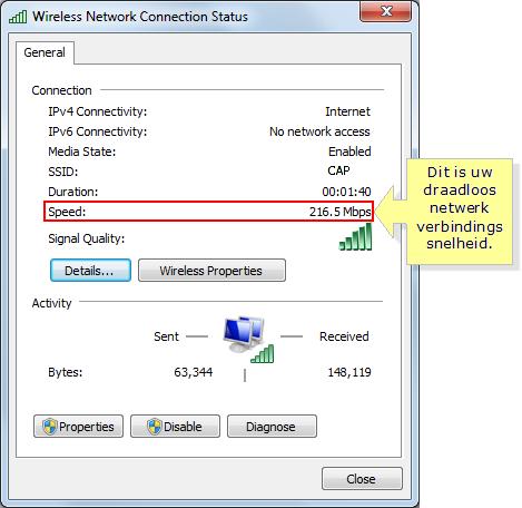 Wi-Fi status, including speed