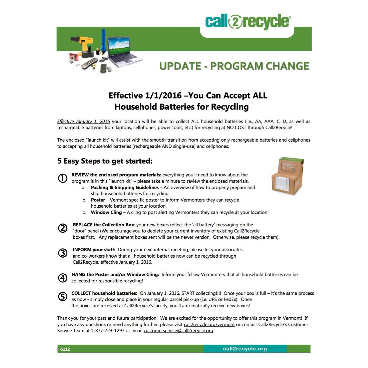 Vermont | Call2Recycle | United States
