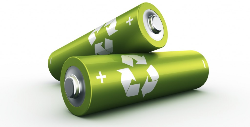 3d rendering of a two green batteries