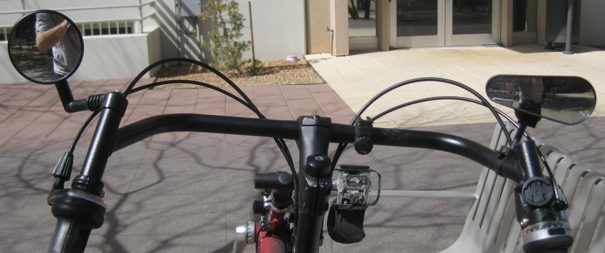 Mountain Mirrycle Mirror on the left side of my handlebars - D+D Oberlauda Ultralight Bike Mirror on the left side of my handlebars