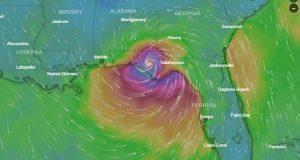 Trayectoria del huracán Michael; Acaba de alcanzar la categoría 4