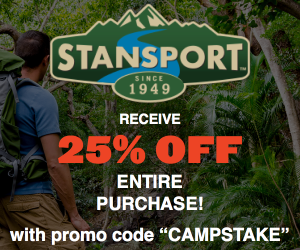 Use promo code CAMPSTAKE at checkout for 25% off your purchase at Stansport