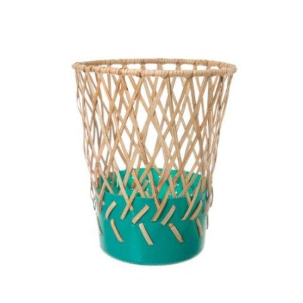 Areaware Bow Bin Diamond Weave Wastebasket