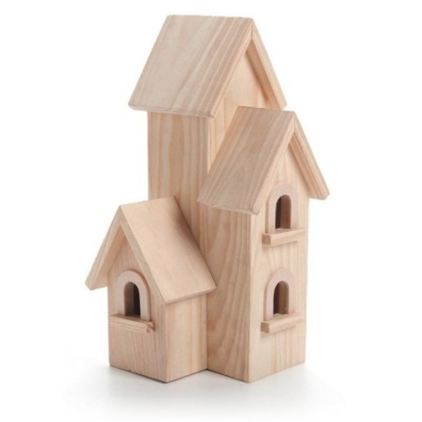 Darice Natural Wood Birdhouse Manhatton, 12-Inch