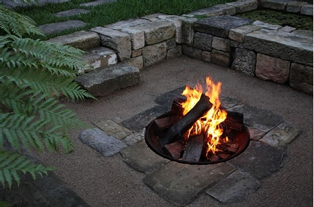 Firepit in a Stone Backyard