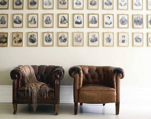 Neatly Organized Antique Portrait Wall