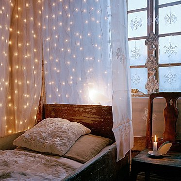 Lights On a Bed Curtain