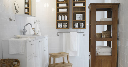 White Tiled Bath with Bare Wood Cabinets
