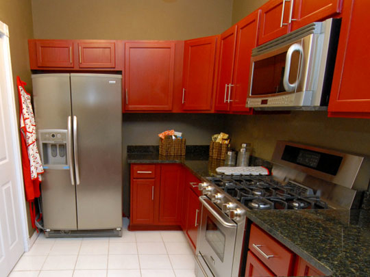 Bright Red Kitchen Cabinets