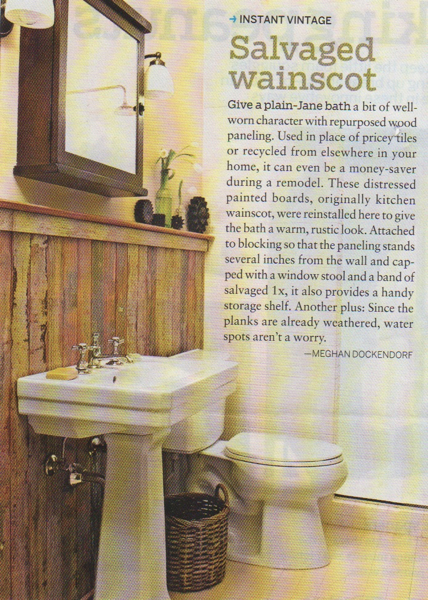 Bathroom with Salvaged Wainscot Shelf