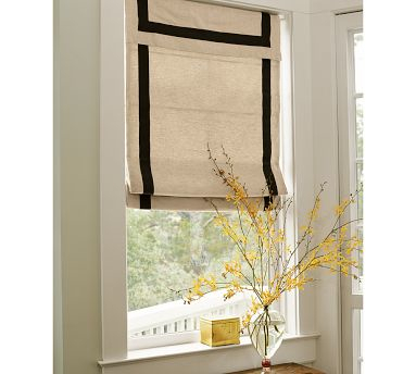 White Roman Blinds with a Black Border