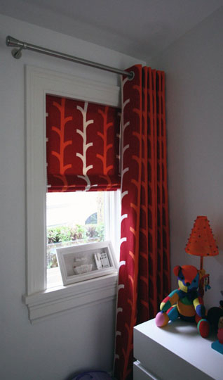 Roman Blind Behind Floor-length Curtain