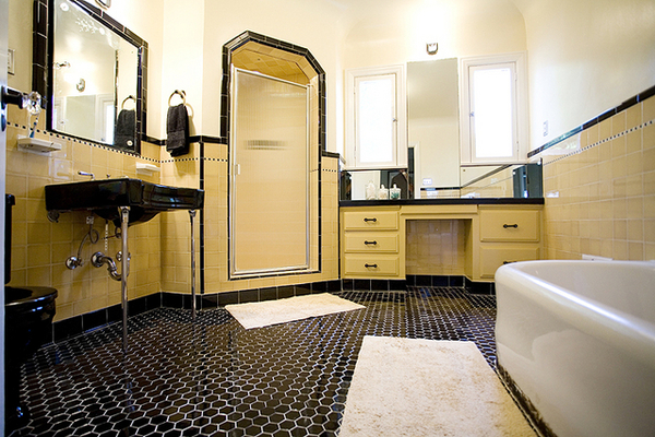 Bathroom with Yellow Subway Tile and Black Hexagon Tile Floor