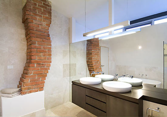 Exposed Chimney in the Bathroom