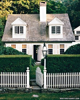 Picket Fence in Front of Hedges