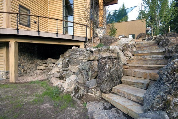 Slab Stairs in a Stacked Stone Wall