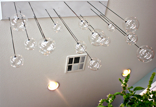 Pendant Globes at Variable Heights