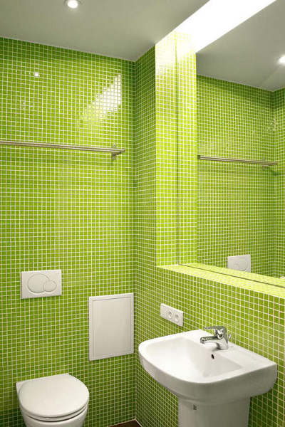 Tiled Lime Green from Floor to Ceiling
