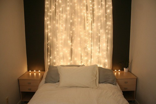 String Light Headboard