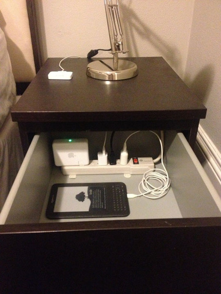 Hidden Nightstand Power Strip