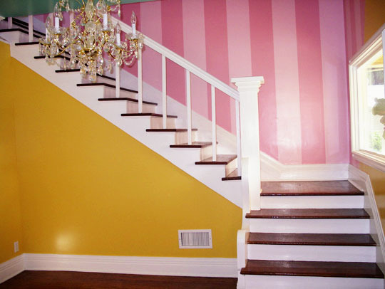 Yellow Room with Pink Striped Stairs