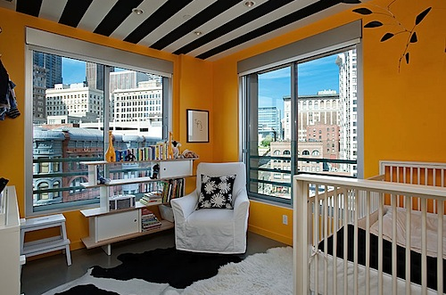 Yellow Room with Black Striped Ceiling