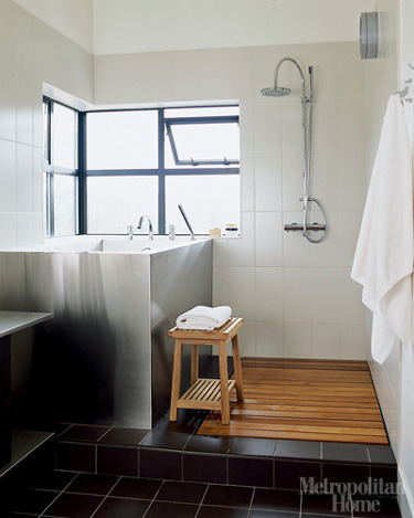 Open Shower with Wood Slat Drain