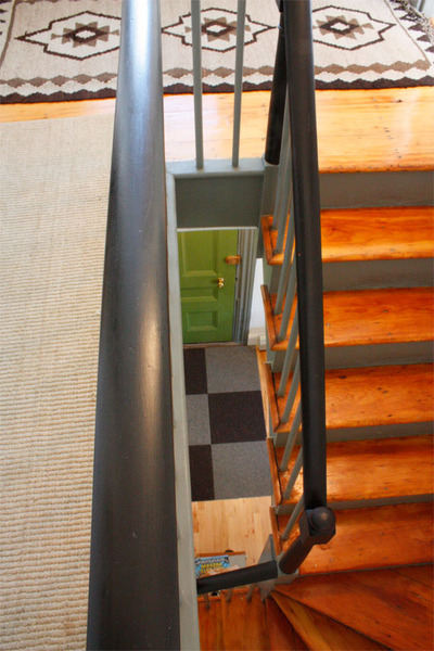Green Door and Rich Stained Stairs