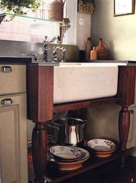 Farmhouse Sink Supported By Table Legs