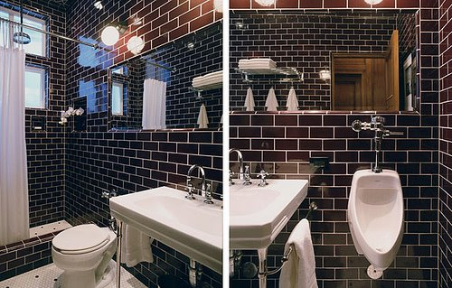 Black Subway Tile Bathroom