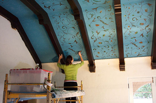 Stenciled Blue Ceiling
