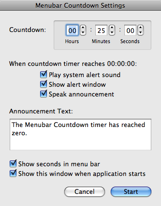 Menubar Countdown Settings