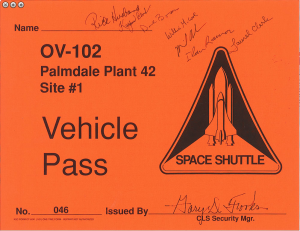 "STS-107 ""Crew Signed"" OV-102 Vehicle Pass"
